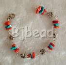 cute coral and turquoise bracelet with lobster clasp