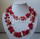 hot 35.5 inches red coral and white pearl necklace