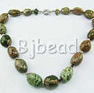 exquisite 17.5 inches peacock agate stone necklace with springring clasp