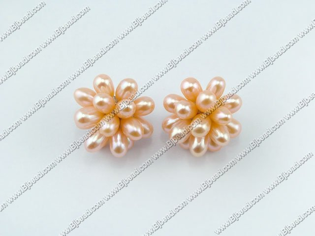 Lotus rice pearl studs