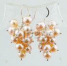 6-7mm real pearl cluster earrings