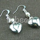 pearl tibet silver heart earrings