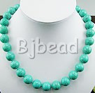 12mm burst pattern turquoise beaded necklace with moonlight clasp