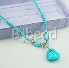 19.5 inches turquoise necklace with heart pendant