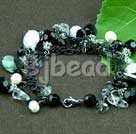 pearl crystal and black shell bracelet