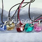 (5 pcs) hot five-color zircon heart shaped pendant necklace