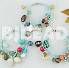 3 PCS multi stone crystal shell bracelet