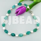coin pearl blue jade necklace