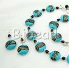 black crystal and colored glaze necklace bracelet earring set
