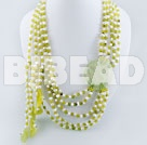 fashion long style pearl peridot jade multi strand necklace