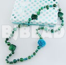 31.5 inches fashion long style phenix stone turquoise flower necklace