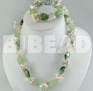 admirably fresh water pearl crystal jade set