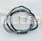 4-5mm black fresh water pearl manmade crystal beaded bracelet 7 inches