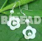 white pearl shell flower earrings