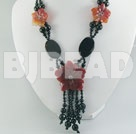 21.6 inches gorgeous black red agate flower necklace