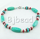 17.5 inches red coral and turquoise necklace with moonlight clasp