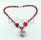 coral and black agate necklace with tibet silver heart shape pendant