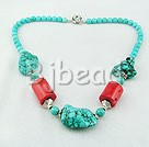 17.5 inches turquoise and coral necklace with moonlight clasp
