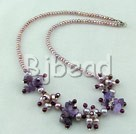 natural garnet pearl amethyst necklace with lobster clasp