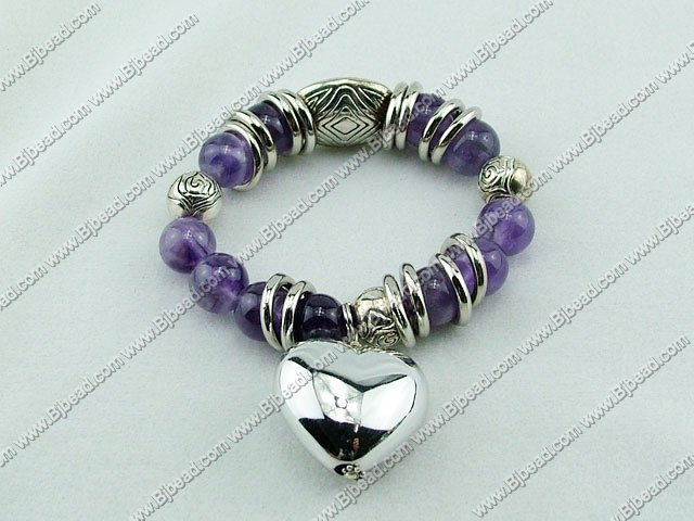 7 inches amethyst bracelet with heart shape charm (12-25mm)