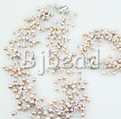 4-5mm multi strand fresh water pink and purple pearl necklace bracelet sets