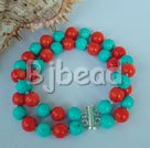 coral and turquoise strand bracelet