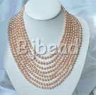 4-5mm multi strand cultured natural fresh water pearl beaded necklace