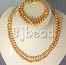 7-8mm double strand pearl necklace bracelet sets