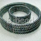 4 row 5-6mm black pearl necklace bracelet sets