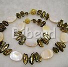 white shell and biwa pearl necklace bracelet sets
