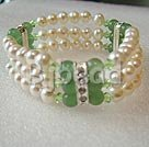 3 row cultured fresh water white pearl and aventurine bracelet